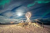 The Northern Lights (Aurora Borealis) over the Globe Monument, symbol of North Cape (Nordkapp), Mageroya island, Troms og Finnmark, Norway, Scandinavia, Europe
