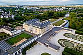 Aerial of Augustusburg Palace, UNESCO World Heritage Site, Bruhl, North Rhine-Westphalia, Germany, Europe