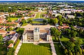 Aerial of Ludwigslust Palace, Ludwigslust, Mecklenburg-Vorpommern, Germany, Europe