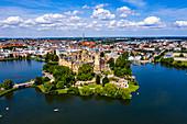 Aerial of Schwerin Castle, Schwerin, Mecklenburg-Vorpommern, Germany, Europe