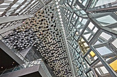 Geometical shapes in the internal architecture of the very modern Harpa Concert Hall, in Reykjavik, southwest Iceland, Polar Regions