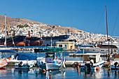 Harbor of Ermoupoli city on Syros island, Cyclades, Greek Islands, Greece, Europe
