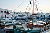 Naoussa historical harbor on Paros island at blue hour, Paros, Cyclades, Greek Islands, Greece, Europe