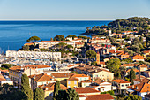 View from a lookout down to the town, Saint Jean Cap Ferrat, Cote d'Azur, French Riviera, Provence, France, Mediterranean, Europe