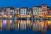 View from the port to the old town at dusk, Cassis, Bouches du Rhone, Provence, France, Mediterranean, Europe
