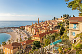 View from the Garavan Boulevard over the old town and the Sablettes beach, Menton, Alpes Maritimes, Cote d'Azur, French Riviera, Provence, France, Mediterranean, Europe