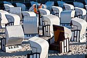 Beach baskets wicker covered seats, Sellin, Rugen Island, Baltic coast, Mecklenburg-Western Pomerania, Germany