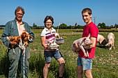 ORGANIC PORK AND POULTRY FARM, GAEC BIO DES LYRE, BENOIT, ODILE AND PHILIPPE DORCHIE, LA VIEILLE LYRE, EURE, NORMANDY, FRANCE, EUROPE