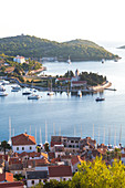 Vis town, Franciscan monastery and harbour, Vis Island, Croatia