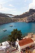 St Paul's church and beach, Lindos, Rhodes, Dodecanese Greece