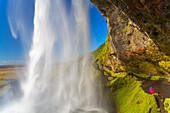 The spectacular Seljalandsfoss Waterfall, water tumbling from overhead