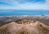 Aerial view of Mount Vesuvius volcano, Naples, Campania, Italy, Europe