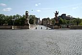 View of Saint Angelo's bridge, during 2020 Covid-19 lockdown, Rome, Lazio, Italy, Europe