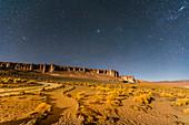 Starry night at Salar de Tara y Aguas Calientes I, Los Flamencos National Reserve, Antofagasta Region, Chile, South America