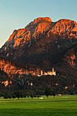 Neuschwanstein Castle at sunset, Schwangau, Allgau, Schwaben, Bavaria, Germany, Europe