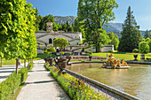 Water Parterre and stairs to Venus Temple, Linderhof Palace, Werdenfelser Land, Bavarian Alps, Upper Bavaria, Germany, Europe