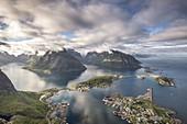 The view from Reinebringen,  Lofoten Islands, Norway, Europe