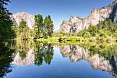 Yosemite mountains reflected in Merced River, Yosemite Valley, Yosemite National Park; Sierra Nevada, California, North America, USA