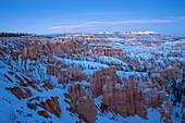Blue Hour at Bryce Canyon in winter season, Tropic, Utah, Usa