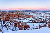 Sunset at Bryce Canyon National Park in winter season, Utah, Usa