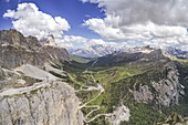 aerial panoramic view taken from the drone of the Falzarego Pass in summer time, Dolomiti, municipality of Cortina d'Ampezzo, Belluno province, Veneto district, Italy, Europe