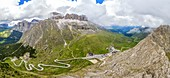 aerial view taken from the drone of the Pordoi Pass during a summer day, Fassa Valley, Dolomiti, municipality of Canazei, Trento province, Trentino Alto Adige district, Italy, Europe