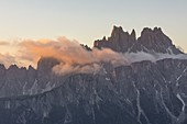 Cason di Formin mountain and Cima Ambrizzola shooting with a telephoto lens during a summer sunrise, Dolomites, municipality of Cortina d'Ampezzo, Belluno province, Veneto district, Italy, Europe