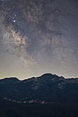 the core of the Milky Way captured with a telephoto lens during a clear summer evening in Tuscany-Emilian Apennine National Park, municipality of Ventasso, Reggio Emilia province, Italy, Europe
