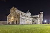 the extraordinary cathedral with the adjacent leaning tower photographed on a summer night, Unesco World Heritage Site, municipality of Pisa, Pisa province, Tuscany district, Italy, Europe