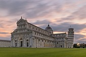 the extraordinary cathedral of Pisa with the adjacent leaning tower photographed on a coloured summer sunrise, Unesco World Heritage Site, municipality of Pisa, Pisa province, Tuscany district, Italy, Europe