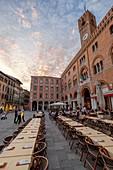Restaurant tables in Pazza dei Signori, Treviso, Veneto, Italy