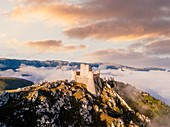 Rocca Calascio, ancient castle on a hill at sunset. Abruzzo, Southern Italy