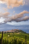 Pinky clouds on La Morra after a thunderstorm, Piedmont, Italy