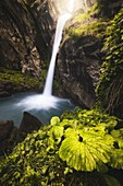 Piss del Passet waterfall in Maira Valley, Canosio, Piedmont, Italy