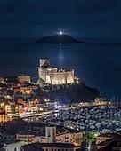 Night on the town of Lerici, Castle of Lerici, municipality of Lerici, La Spezia province, Liguria district, Italy, Europe