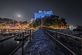 Night with the moon over the town of Lerici, Castle of Lerici, municipality of Lerici, La Spezia province, Liguria district, Italy, Europe