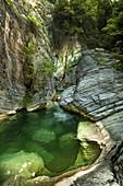 Italy,Abruzzo, Civitella del Tronto.  Pond in the Gole del Salinello. Regional Reserve, Gran Sasso and Monti della Laga National Park