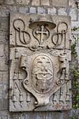 Heraldic coat of arms of Cardinal Gambara Giovanni Francesco, apostolic administrator of Tuscania and Viterbo. Viterbo, Lazio, Italy, Europe