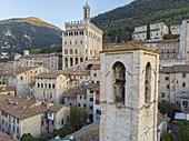 Italy, Umbria, Gubbio, Consoli's Palace at sunrise