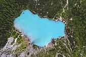 Sorapiss lake from above, Cortina di Ampezzo, Belluno, Veneto, Italy, Southern Europe