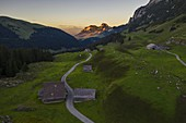 A view of Hoher Kasten along  road to Oeschinensee, Wasserauen, Canton Appenzell Innerrhoden, Alpstein, Schwende, Switzerland, Western Europe