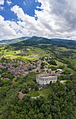 Aerial view of the Castello dal Verme in Zavattarello town. Val Tidone, Oltrepo Pavese, Province of Pavia, Lombardy, Italy.