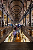 View of the interior of the Trinity College library, Dublin, Ireland, Europe.