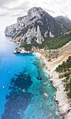 Aerial view of most beautiful beach of Sardinia, Cala Goloritzé, Orosei gulf, Nuoro district, Ogliastra, Sardinia, Italy.