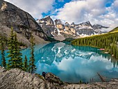 Canada, Alberta, Banff National Park, Lake Louise: one of the iconic view of the western Canada, the Ten Peaks reflecting in the blue waters of Moraine Lake