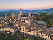 San Gimignano aerial view at dawn, Siena province, Tuscany, Italy, Europe
