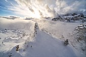 Aerial view of Sella from Cir group in winter, Puez-Odle Nature Park, Gardena Pass, Dolomites, South Tyrol, Italy