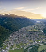 Aerial panoramic of Morbegno and Orobie Alps at sunset,Valtellina, Sondrio province, Lombardy, Italy