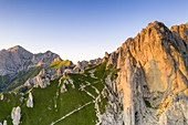 Aerial view of Rifugio Rosalba hut at feet of Grignetta (Grigna Meridionale), Lake Como, Lecco province, Lombardy, Italy