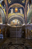 Interior view of Mausoleum of Galla Placidia. Ravenna, Emilia Romagna, Italy, Europe.